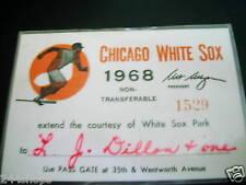 CHICAGO WHITE SOX 1968 STAFF SEASON PASS