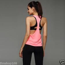 Fashion Women Workout Tank Top T-shirt Sport Gym Clothes Fitness Yoga Vests