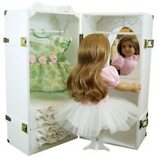 """Clothes Storage Trunk Case & Vanity Stool For 18 """" Inch American Girl Doll WHITE"""