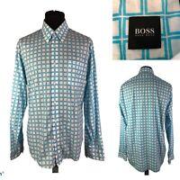 HUGO BOSS Men's White Blue Check Pattern Cotton Long Sleeve Shirt Size L