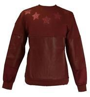 Mens Makobi Burgundy Sweater Glitter Stars Ribbed Bottom PU Trim/Satin Sleeves