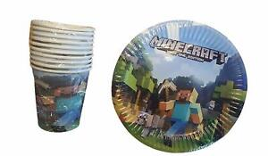 10 Plates & 10 Cups Birthday Party Set - Minecraft Inspired Birthday Party