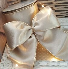 Luxury Wired Pale Champagne Gold Christmas Metallic Ribbon Xmas Tree Wreath