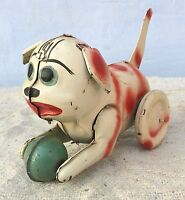 1950's VINTAGE PRESS TAIL & RELEASE TO MOVE MOVING DOG TIN TOY-WORKING, JAPAN?