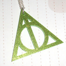 Mythical Object Wizard Deathly Hallow Logo Charm Necklace Glitter Green Large