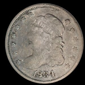 1834 U.S. 5¢ - Liberty Capped Bust Half Dime (3/Inverted 3) - F (Cleaned)