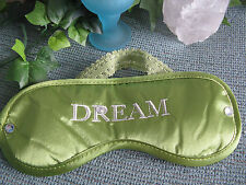 """NEW SEXY COOL GREEN SATIN """"DREAM"""" EMBROIDERED SLEEP TRAVEL EYE MASK W/BLING!"""