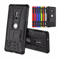 For Sony Xperia XZ2 Compact Shockproof Rugged Hybrid Armor Gel Case Stand Cover