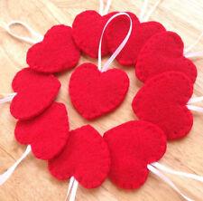 10 red heart ornaments, handmade red felt heart decorations, Valentines decor