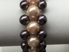 """Two Tone Pink & Plum Shell Pearl Ladder Weave 7.5"""" Bracelet with Magnetic Clasp"""