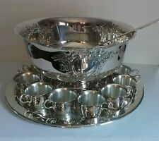 Oneida Silver Plate Castle Court X Large Punch Bowl with Tray, 12 Cups and Ladle