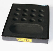 CLIPPER COLLECTOR TRAY DISPLAY HOLDS 12 METAL LIGHTER HOLDER BLACK NO CARDBOARD