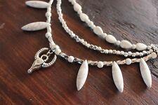 Stunning Handmade 3 Layer White Howlite Spike Bead & Silver Bulls Head Necklace