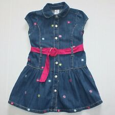 Gymboree Smart And Sweet Embroidered Flower Belted Denim Dress 4