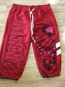 Women's Disney Parks Red Minnie Mouse Logo Capris Cropped Sweatpants Size Small
