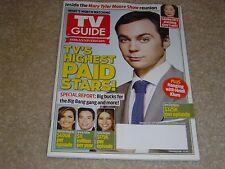 JIM PARSONS * TV'S HIGHEST PAID STARS August 26 2013 TV GUIDE MAGAZINE
