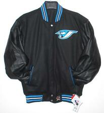 SIZE L MLB TORONTO BLUE JAYS WOOL BODY & LEATHER SLEEVES REVERSIBLE Jacket L