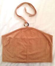Ladies tan halterneck top, velour-like fabric (size 10/euro 38)