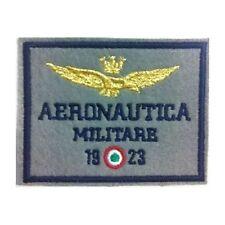 [Patch] AERONAUTICA MILITARE 1923 fondo grigio cm 7,5 x 5,8 toppa ricamata -201