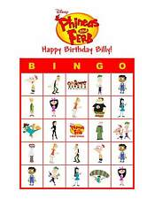 Phineas and Ferb Birthday Party Game Bingo Cards