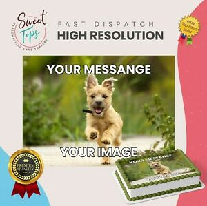 YOUR OWN IMAGE PERSONALISED PHOTO RECTANGLE EDIBLE CAKE TOPPER DECORATION