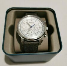 FOSSIL MEN GOODWIN CHRONOGRAPH GRAY LEATHER WATCH FS5438 NWT