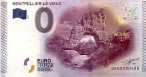 12 PEYRELEAU Montpellier-le-Vieux, 2015, Billet 0 Euro Souvenir