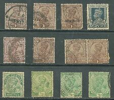 12 Vintage India Stamps  Nine Pies, One ANNA, 1/2 ANNA, INDIA POSTAGE SERV
