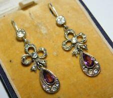 Antique Edwardian Silver, Amethyst Paste Bow Pendant Drop Hook Earrings c.1910