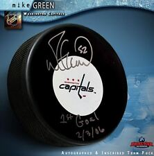 """MIKE GREEN Signed Washington Capitals Puck Inscribed """"1st Goal 2-3-06"""""""