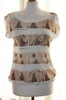 BNWT River Island Cream Brown Printed T-shirt Top size 10