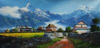 MOUNT ANNAPURNA FROM DHAMPUS ORIGINAL ACRYLIC PAINTING ON CANVAS 24 x 48-INCH