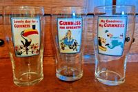 🍺 3 Guinness Pint Glasses Featuring Charming Characters Promoting Beer 🍺