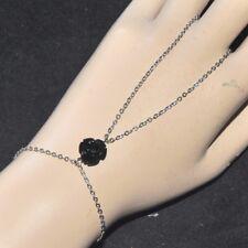 Chaîne de main bracelet bague original acier inoxydable fleur rose noire bijou