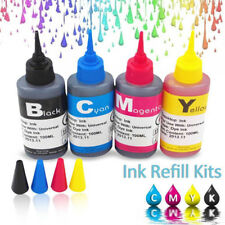 4x 100ml Color Ink Cartridge Refill Replacement Kit for HP Canon Printer AC