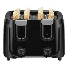 4-Slice Black Electric Toaster-6 browning Settings Crumbs Kitchen Countertops