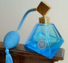 Vintage Irice Hand-Cut Aqua Blue Crystal Perfume Bottle with New Atomizer
