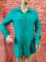 Calypso St. Barth Silk Blend Green Long Sleeve Button Front Women's Shirt Sz XS