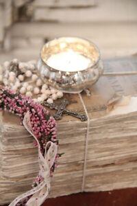 Shabby Windlichter Bauernsilber Glas Kerzenhalter Teelichthalter Vintage Hygge