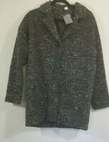 H&M Divided Black, White,and Grey Wool Blend Peacoat Women's Size 12 NWT