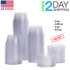 100 Set 4 oz Small Sauce Containers Lids Disposable Salad Dressing Cups Plastic