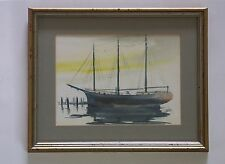 Seattle Artist Nell Wheeler Framed Original Signed Watercolor Schooner Wawona