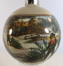 Vintage CHRISTMAS SNOW Ornament - Glass Ball in Box - Cutting Down Tree