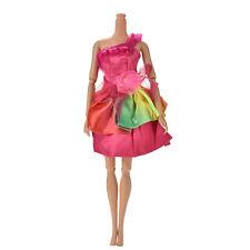 "1 Pcs Fashion Rainbow Single Shoulder Rose Dress for 11"" Barbies Dolls 4y"