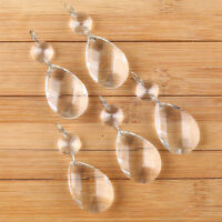 10Pcs Clear Crystal Glass Chandelier Lamp Parts Prisms Pendant Drops Decor 38MM