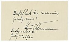 Pristine & Superb, Harry Truman Handwrtten & Signed Note To A 'Coming Man', 1956