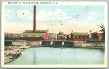 PATERSON NJ DAM AT POWER HOUSE 1923 ANTIQUE POSTCARD