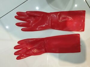 BDSM Fetish Red Latex Gloves Rubber with White Zipper size Small