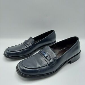 Coach Leila Women's Navy Leather Penny Loafers Sz 8 B Made in Italy, MSRP $200