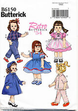 "BUTTERICK SEWING PATTERN 6150 18"" VINTAGE '54 RETRO DOLL CLOTHE, DRESSES, COAT"